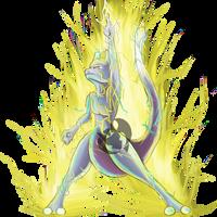 Mewtwo use Thunderbolt by Kenisu-of-Dragons