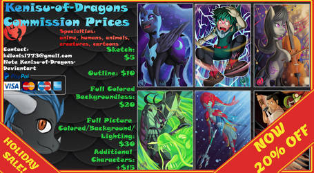 KOD Holiday Commission Prices 2018 by Kenisu-of-Dragons