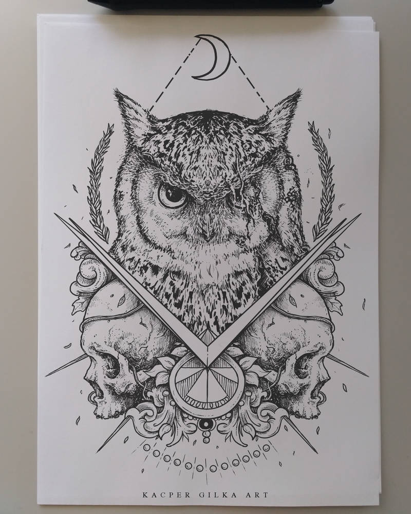 Owl and skulls by KGArtDesign
