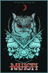 Tshirt design for metal band Owl and skulls by KGArtDesign