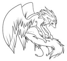 Winged Wolf Lines by jaclynonacloudlines