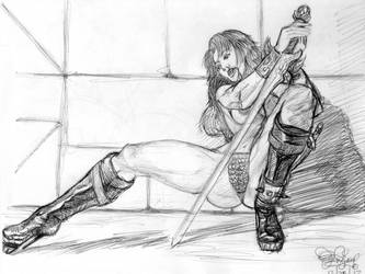 Red Sonja, Exhausted in Battle. by Dr-Cruz