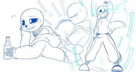 Undertale: GENDERBENT- Skelesibs! DOODLEZ! #2 SANS by perfectshadow06