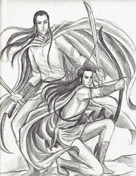 Warriors-Elladan and Elrohir by Melibells