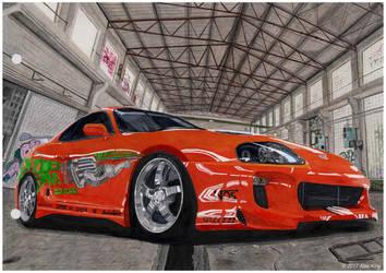 Toyota Supra Drawing by AlexKingART