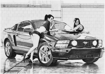 Car Drawing Ford Mustang and girls. by AlexKingART
