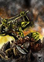 Dwarf vs Orc by castortroy3497