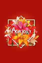 Bonjour Flower postcard by jannezq