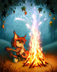Near the campfire by Ann-Nick