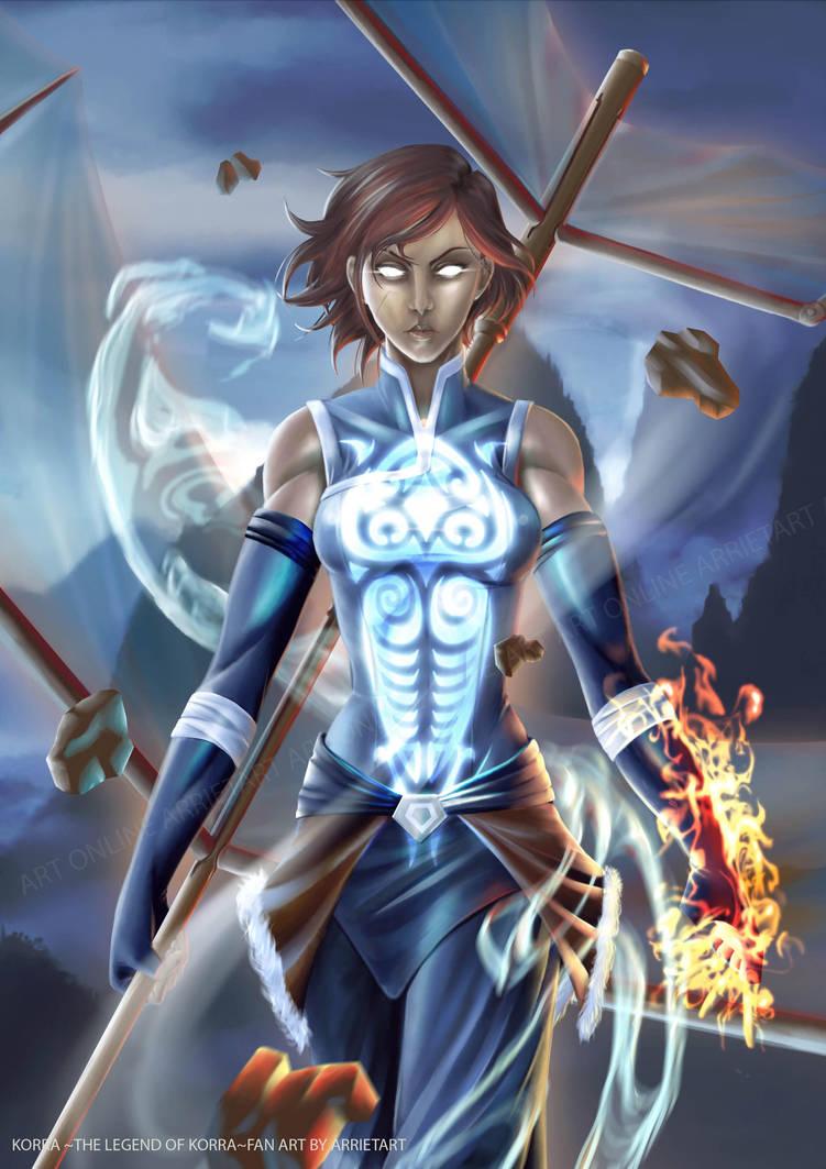 Korra Avatar state by Arrietart