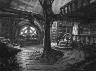 Rootbeards House - Interior Sketch by Chris-Karbach