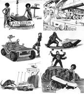 Vehicles for a SF monster tabletop game by SteampunkGorgon