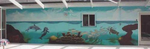 poolside ocean mural by Manifold2