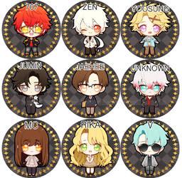 Mystic Messenger Buttons by Pikiru