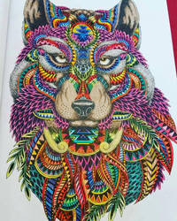 Wolf Zentangle coloring by AntiWarlock