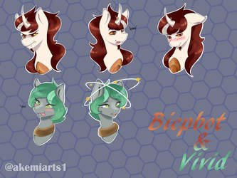 {Commission} Emotes for Biepbot and Vivid by Akemiarts1