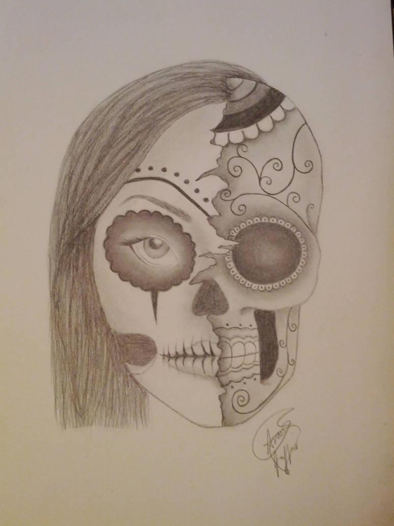 Half Girl Half Skull By Veramathers On Deviantart
