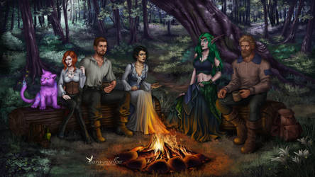 Commission: Campfire stories by barn-swallow