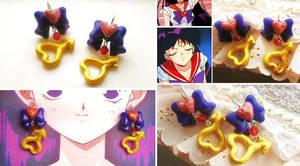 Handmade sailor Mars Inspired Magical Earrings by mayumi-loves-sora