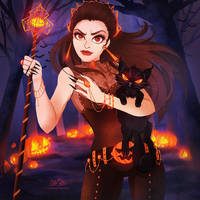 Halloween Witch and Magic Pumpkin 2015 by LilaCattis