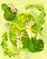 Easter Bunnies by LilaCattis