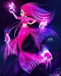Pink Angelfish Mermaid by LilaCattis