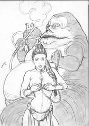 Salve Leia and jabba by sancaracomicart