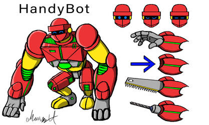 HandyBot Character Concept Design by MarioUComics