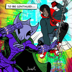 Miles Morales Spider-man vs Prowler colored by MarioUComics