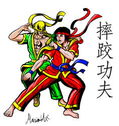 Shuai Jiao Iron Fist and Shang Chi colored by MarioUComics
