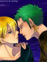 Coloring: Zoro x Sanji by honeyf