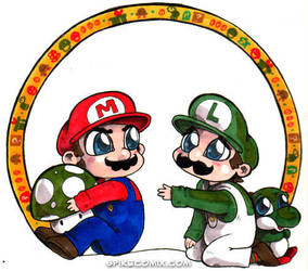 Chibi Mario and Luigi by spikecomix