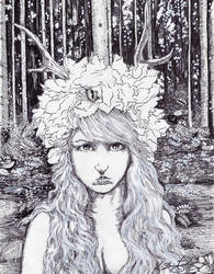 Princess of the Woods pen and ink by KurtBrugel