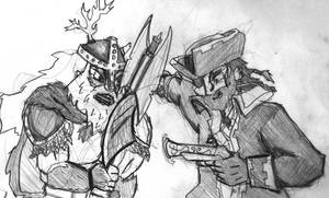 Viking vs Pirate by Fragraham