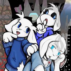 3 White Rabbits by Fragraham