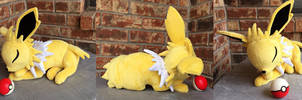 Sleeping Jolteon Plush by The-Crafty-Kaiju