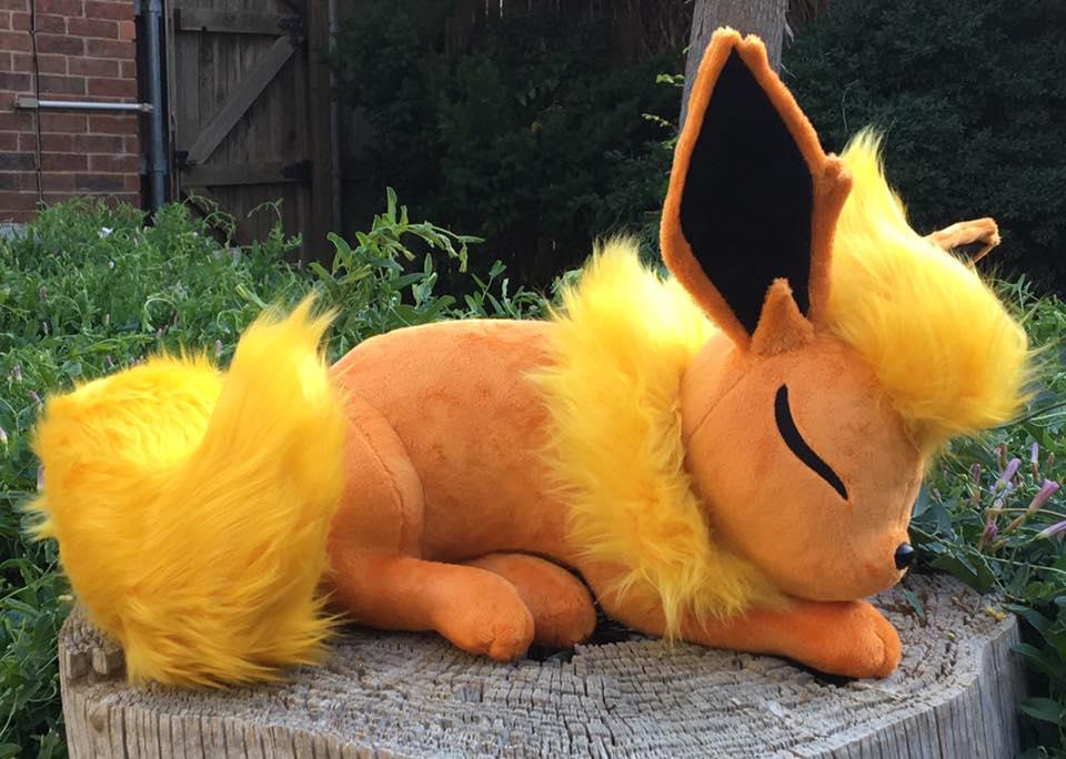 Sleeping Flareon Plush by The-Crafty-Kaiju