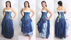 Blue Silk Corset and Skirt by OLIVESELKIE