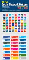 Flat Social Network Buttons by Reza-Hafezi