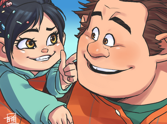 Vanellope and Ralph by RyukiGaryu