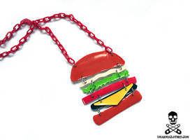 tasty burger necklace by smarmy-clothes