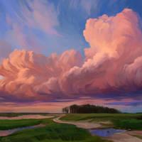 Cloudy sunset by O-l-i-v-i