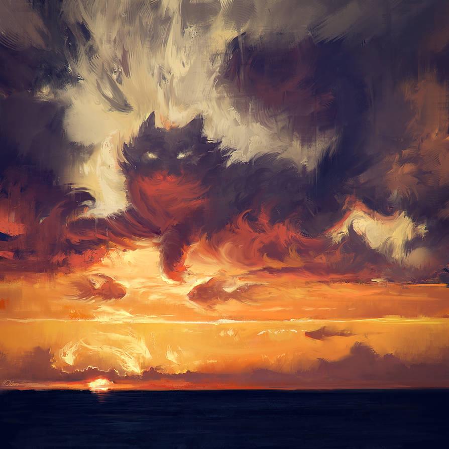 Meow sunset by O-l-i-v-i