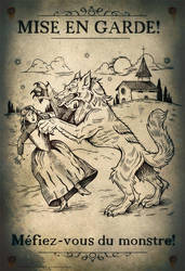 Loup Garou Mini Poster (Non-bloody Version) by thornwolf
