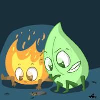 Leafy and Firey by cubismm