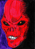 Red Skull Sketch Card by mentaldiversions