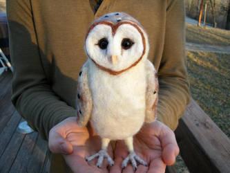 Large Needle Felted Barn Owl by JessieDockins