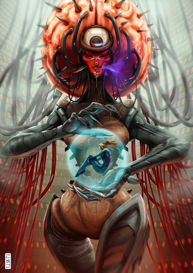 Mother Brain and Samus by rubendevela