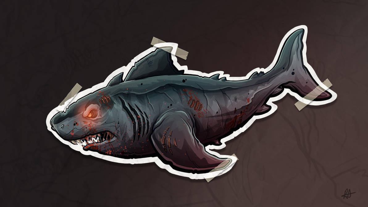 Zombie Shark - 2/50 by aldersonillustration
