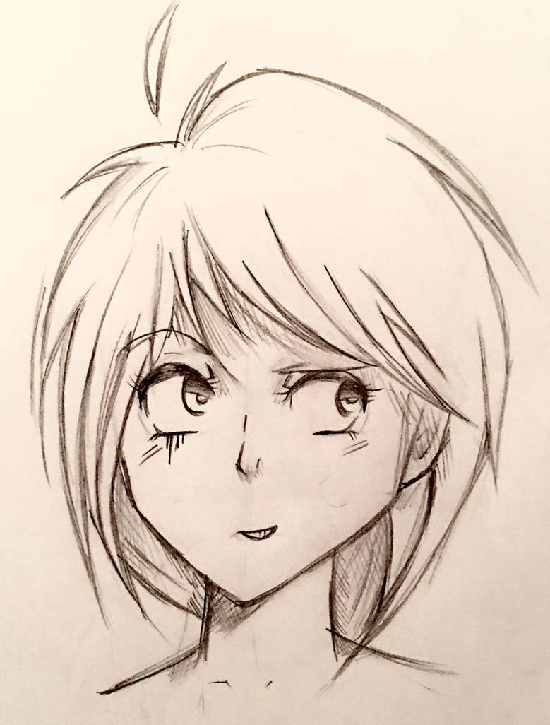 Manga Girl Sketch WIP by CatEyes-To-CatTails